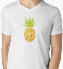 Glitter Tropical Pineapple with Stripes and Dots V-Neck T-Shirt