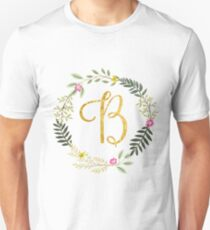Floral and Gold Initial Monogram B T-Shirt