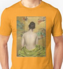 William Merritt Chase - Study Of Flesh Color And Gold 1888. Woman portrait: model,  nude,  nudity ,  naked,  woman ,  naked back,  undressed,  body woman , love, sexy lady, erotic pose T-Shirt