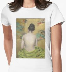William Merritt Chase - Study Of Flesh Color And Gold 1888. Woman portrait: model,  nude,  nudity ,  naked,  woman ,  naked back,  undressed,  body woman , love, sexy lady, erotic pose Women's Fitted T-Shirt