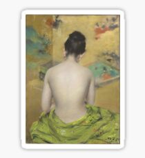 William Merritt Chase - Study Of Flesh Color And Gold 1888. Woman portrait: model,  nude,  nudity ,  naked,  woman ,  naked back,  undressed,  body woman , love, sexy lady, erotic pose Sticker