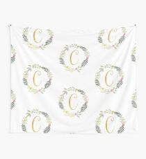 Floral and Gold Initial Monogram C Wall Tapestry