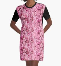 Pink Roses Graphic T-Shirt Dress
