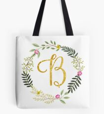Floral and Gold Initial Monogram B Tote Bag