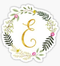Floral and Gold Initial Monogram E Sticker