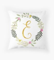 Floral and Gold Initial Monogram E Throw Pillow