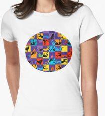 Pop Art Jagdhunde Tailliertes T-Shirt für Frauen