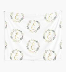 Floral and Gold Initial Monogram E Wall Tapestry