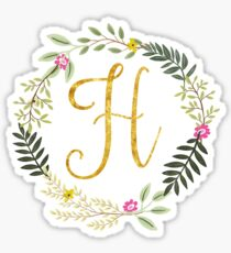 Floral and Gold Initial Monogram H Sticker