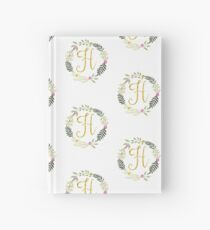 Floral and Gold Initial Monogram H Hardcover Journal