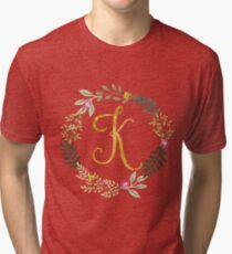 Floral and Gold Initial Monogram K Tri-blend T-Shirt