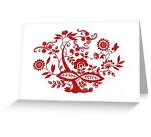 RED ABSTRACT FLORAL  Greeting Card
