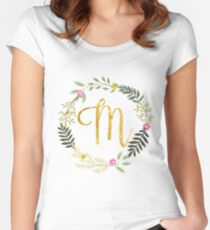 Floral and Gold Initial Monogram M Women's Fitted Scoop T-Shirt