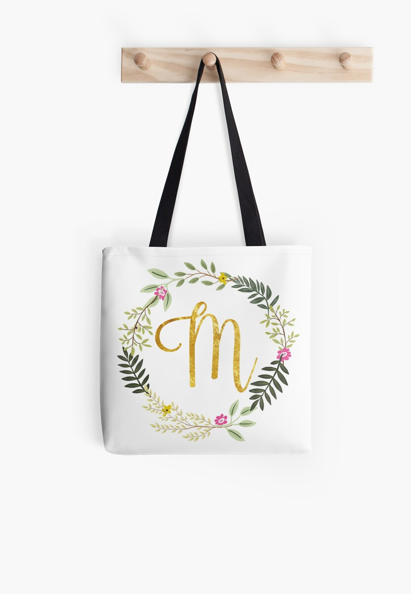 Floral and Gold Initial Monogram M by Heureux Lifestyle