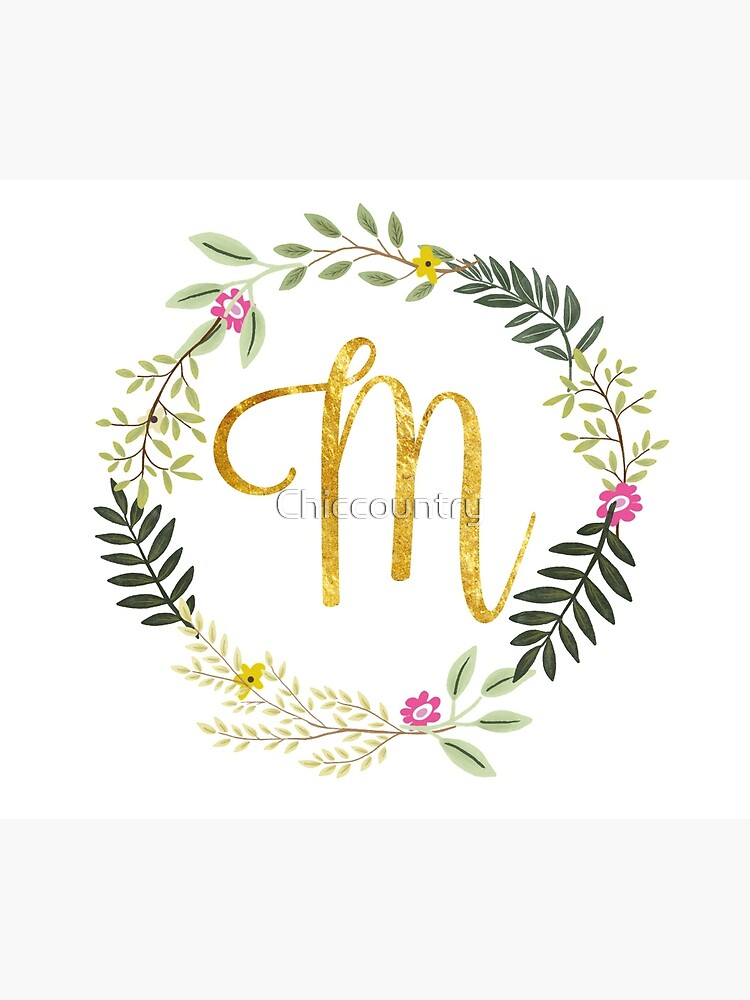 Floral and Gold Initial Monogram M by Chiccountry