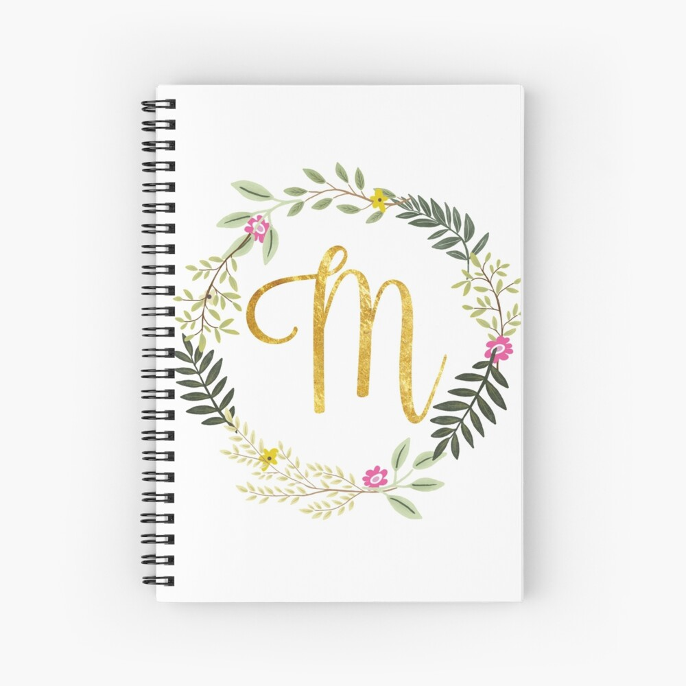 Floral and Gold Initial Monogram M Spiral Notebook
