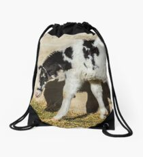Baby Cow Eats Lunch In The Sun Drawstring Bag