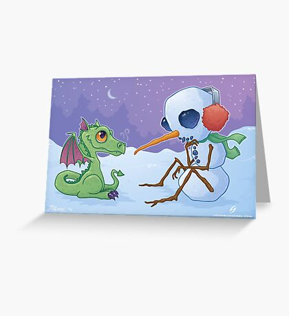 Snowman and Dragon Greeting Card