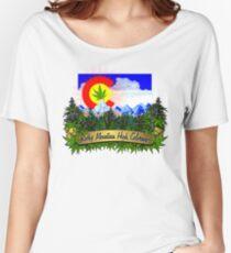 Rocky Mountain High Colorado Flag Cannabis Marijuana Herb Women's Relaxed Fit T-Shirt