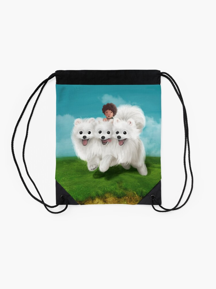 Quot Cute Pomeranian Cerberus Oil Painting Style Quot Drawstring