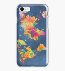 blue world map iPhone Case/Skin