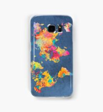 blue world map Samsung Galaxy Case/Skin