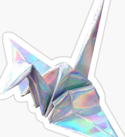 Holographic Shiny Paper Crane Design Sticker
