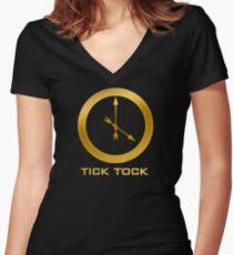 Catching Fire Tick Tock Shirt  Women's Fitted V-Neck T-Shirt