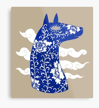 The Water Horse in Blue and White Metal Print