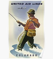 United Air Lines Colorado Vintage Travel Poster Poster