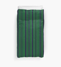 Classic Navy Blue and Green Stripes Duvet Cover