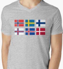 Scandinavian flags Men's V-Neck T-Shirt