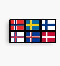 Skandinavische Flaggen Leinwanddruck