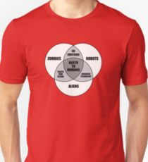 Zombie Alien Robot Venn Diagram T-Shirt