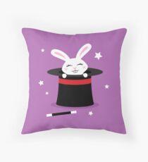Rabbit in magicians hat Throw Pillow