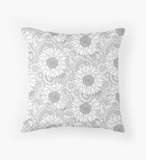 Sunflowers b&w Throw Pillow
