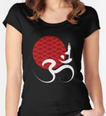 Red Sun Yoga and Om Women's Fitted Scoop T-Shirt