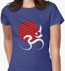Red Sun, Yoga and Om Womens Fitted T-Shirt