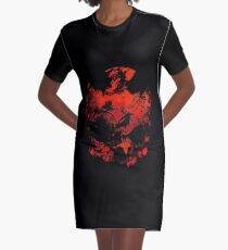 A Skull, some crows and flames Graphic T-Shirt Dress