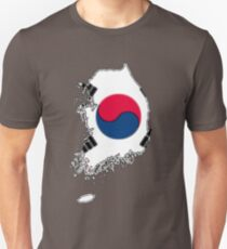 South Korea Map With South Korean Flag Unisex T-Shirt