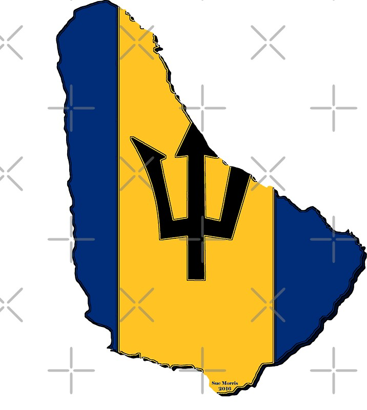 Barbados map with barbadian flag by havocgirl