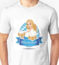 Pretty Bavarian girl with beer, Oktoberfest label with ribbon banner T-Shirt