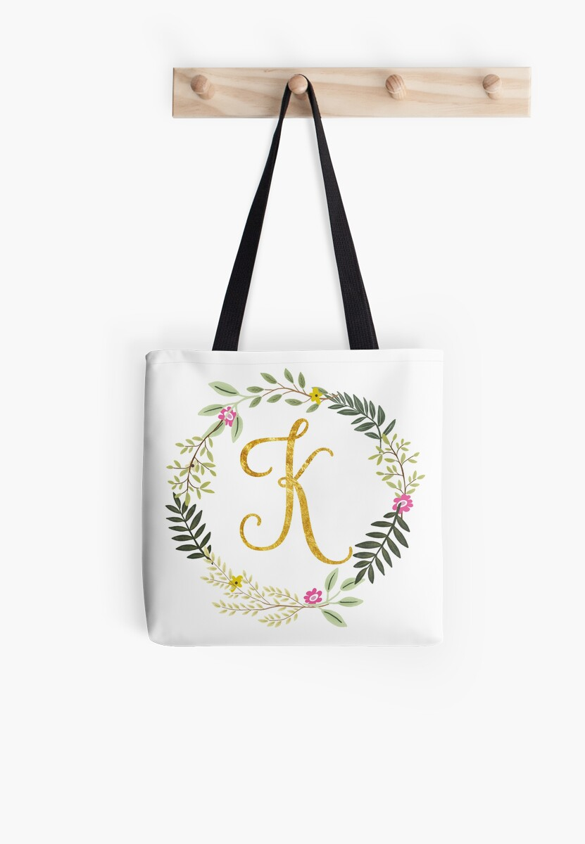 Floral and Gold Initial Monogram K by Heureux Lifestyle
