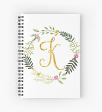 Floral and Gold Initial Monogram K Spiral Notebook