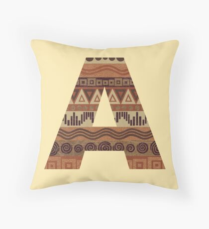 Letter A Leather Look Pattern Tribal Ethnic Monogram Initial Throw Pillow