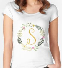 Floral and Gold Initial Monogram S Women's Fitted Scoop T-Shirt