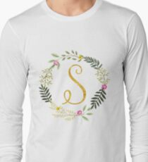 Floral and Gold Initial Monogram S T-Shirt