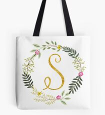 Floral and Gold Initial Monogram S Tote Bag