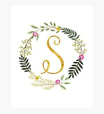 Floral and Gold Initial Monogram S Photographic Print