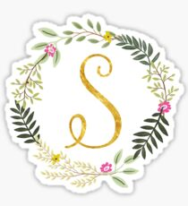 Floral and Gold Initial Monogram S Sticker